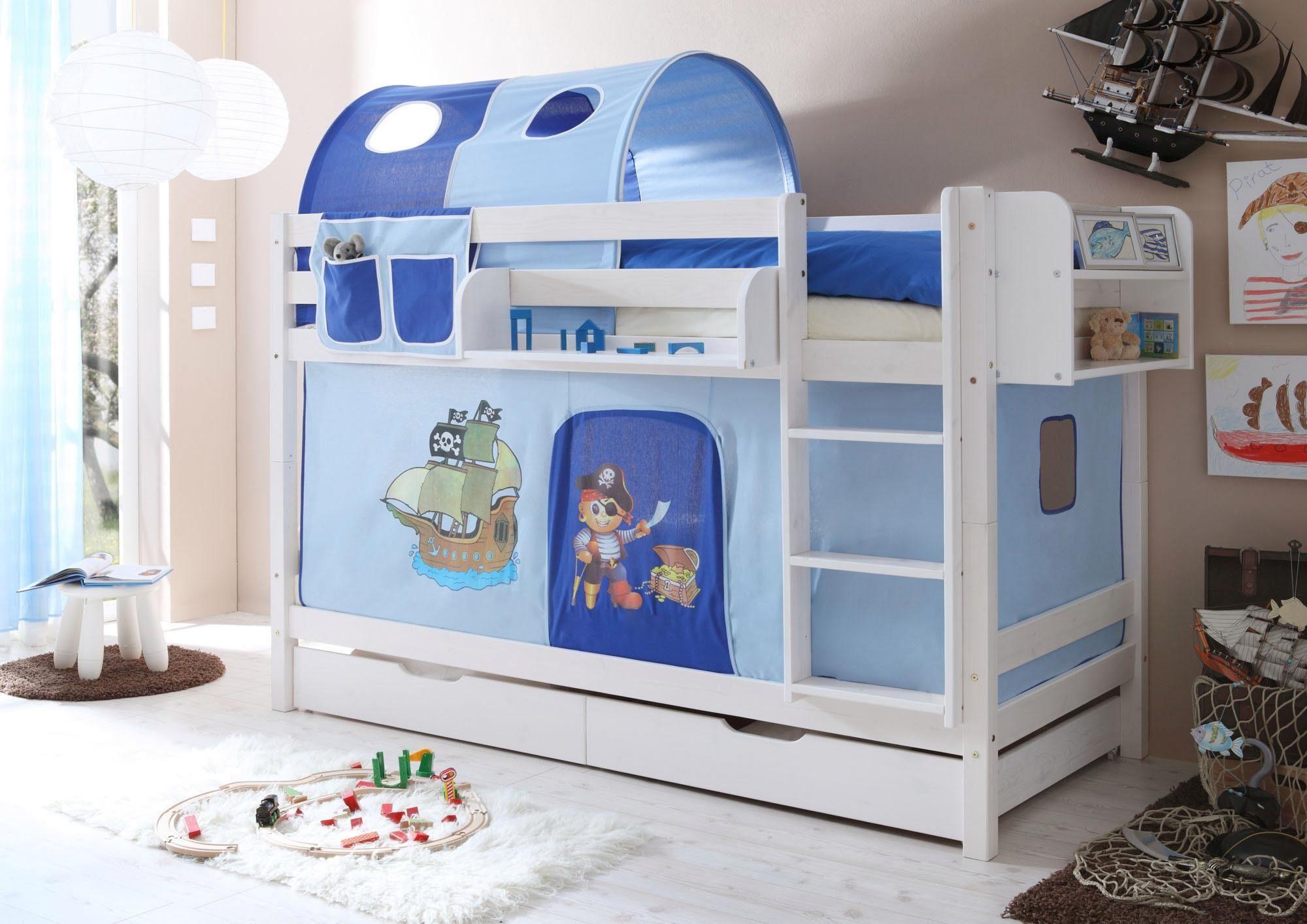 Etagenbett Set : Ticaa einzel etagenbett marcel« mit textil set kiefer massiv