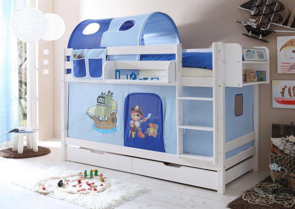 Etagenbett Set : Ticaa einzel etagenbett »marcel« mit textil set kiefer massiv weiß