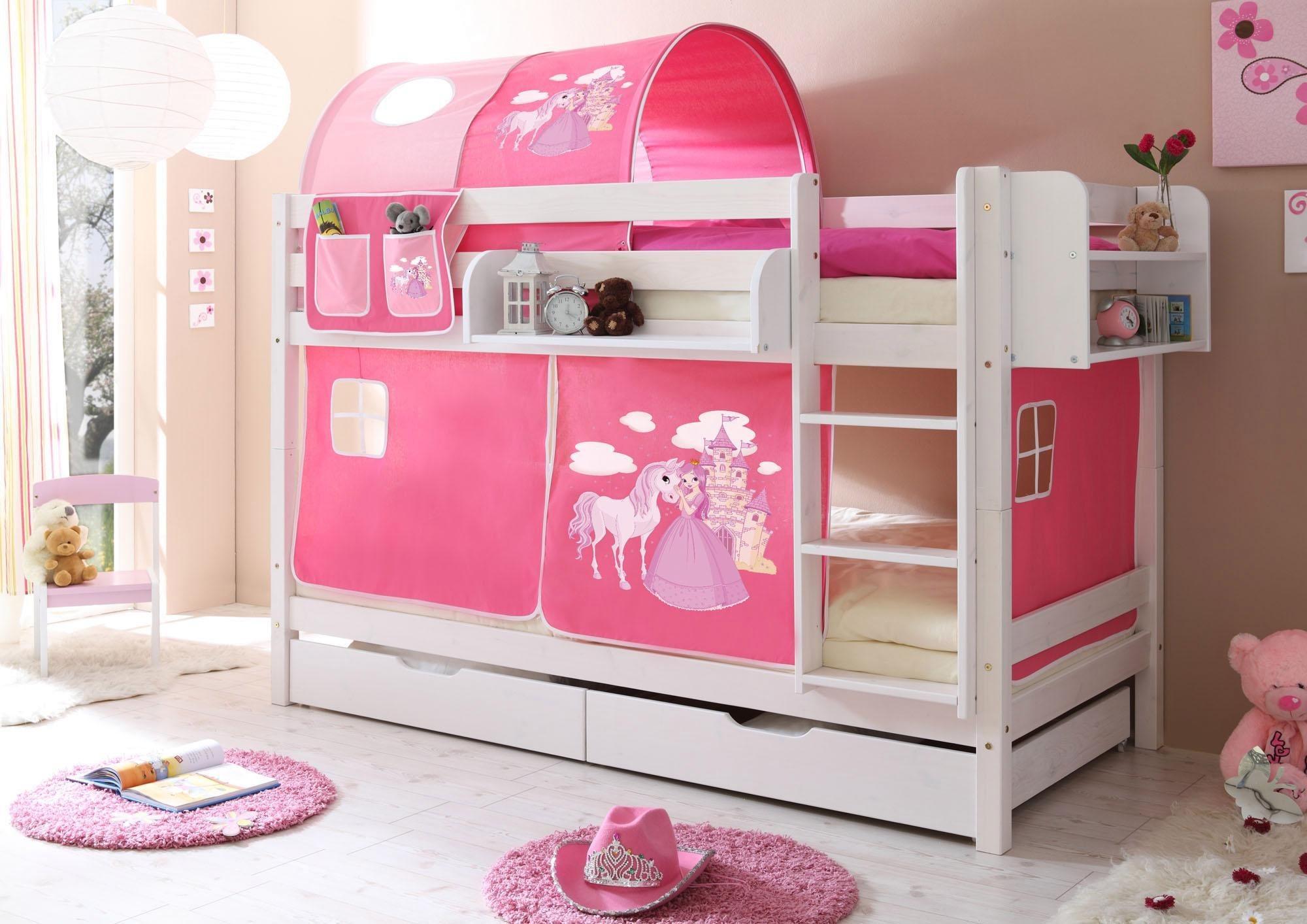 Ticaa Einzel-/Etagenbett »Lio« mit Textil-Set, Kiefer massiv weiß gewachst | Kinderzimmer > Kinderbetten > Etagenbetten | Kiefer - Textil - Baumwolle | Ticaa