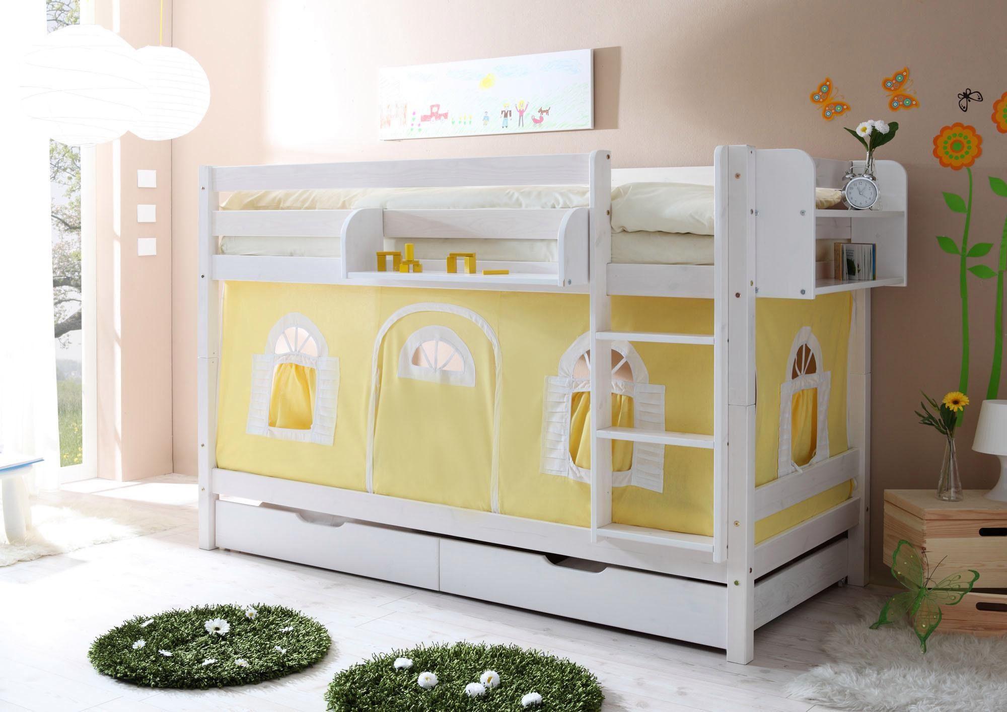 Etagenbett Weiß Massiv : Relita etagenbett mike in buche massiv weiß lackiert inkl