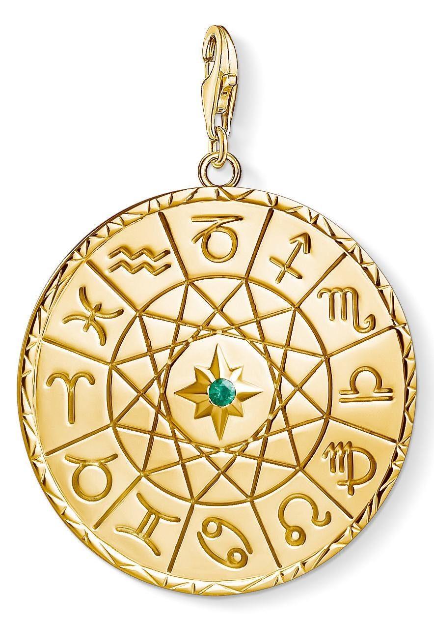 THOMAS SABO Charm-Einhänger »Sternzeichen Coin gold, Y0036-472-39« mit Glasstein