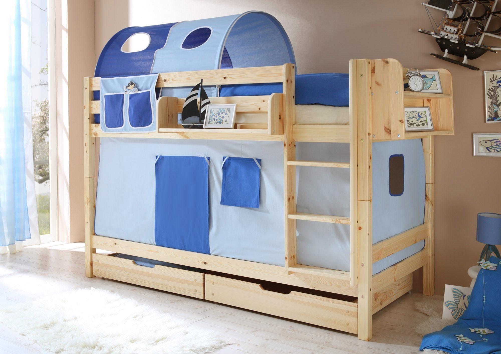 Ticaa Einzel-/Etagenbett »Lio« mit Textil-Set, Kiefer massiv natur lackiert | Kinderzimmer > Kinderbetten > Etagenbetten | Kiefer - Textil - Baumwolle | Ticaa