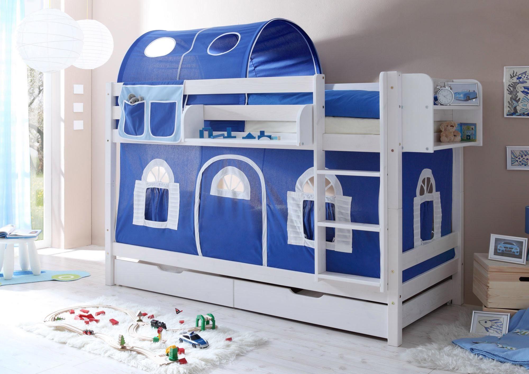 Etagenbett Für Zwei : Etagenbett mads buche massiv weiß zwei schlafplätze cm