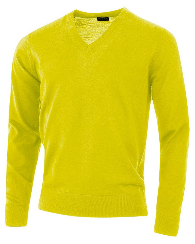 agon® V-Pullover mit Total-Easy-Care-Behandlung | Bekleidung > Pullover > V-Pullover | Gelb | Wolle | agon®
