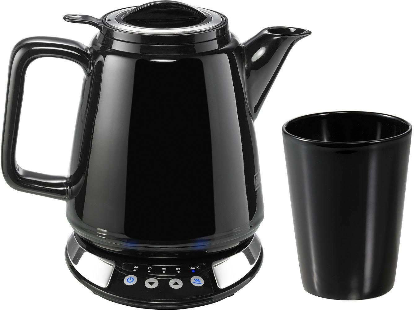 BEEM Wasserkocher i-Tea Wasser- & Teekocher Porzellan Schwarz mit Becher, 0,85 l, 1630 W
