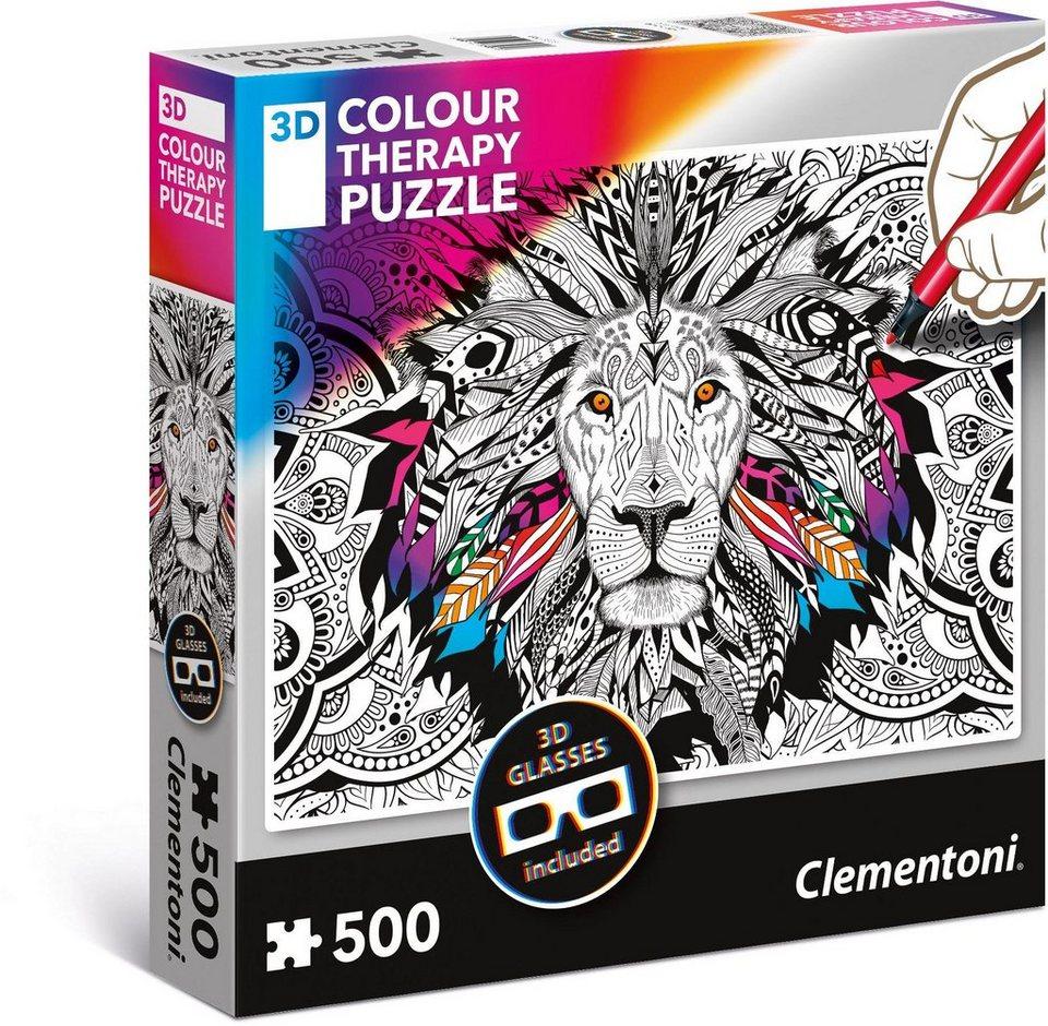 Clementoni Puzzle mit 3D Effekt, 500 Teile,  Colour Therapy: Löwe  online kaufen