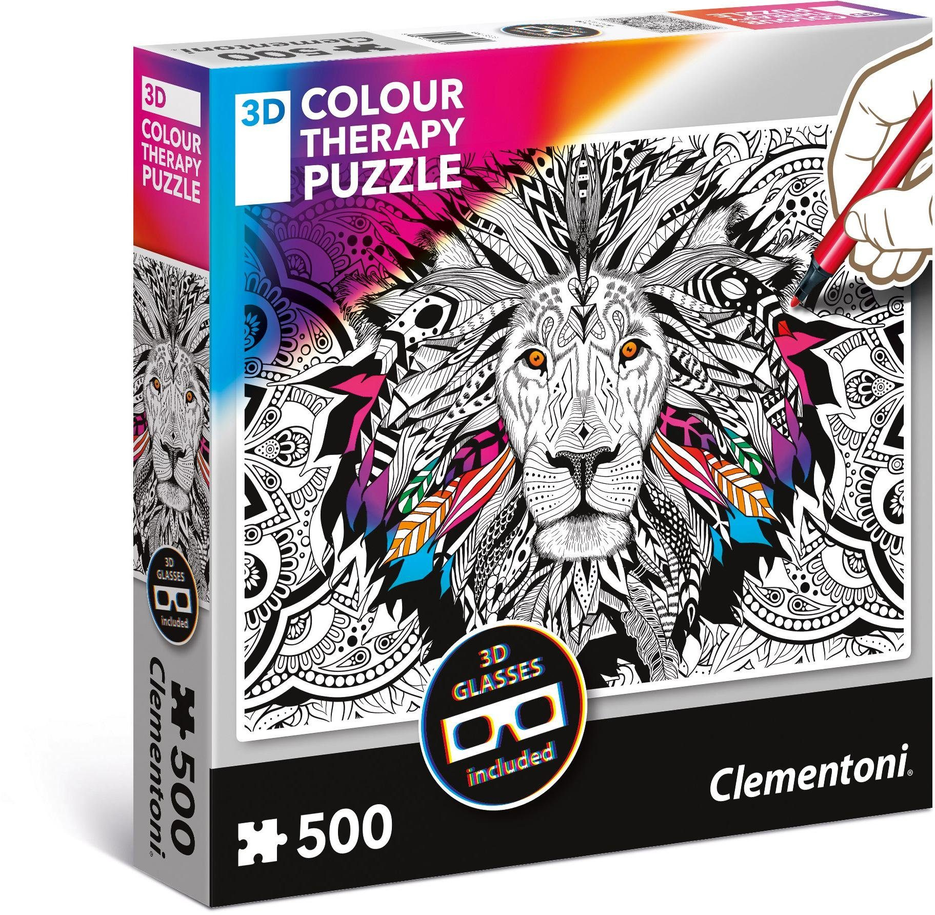Clementoni Puzzle mit 3D Effekt, 500 Teile, »Colour Therapy: Löwe«
