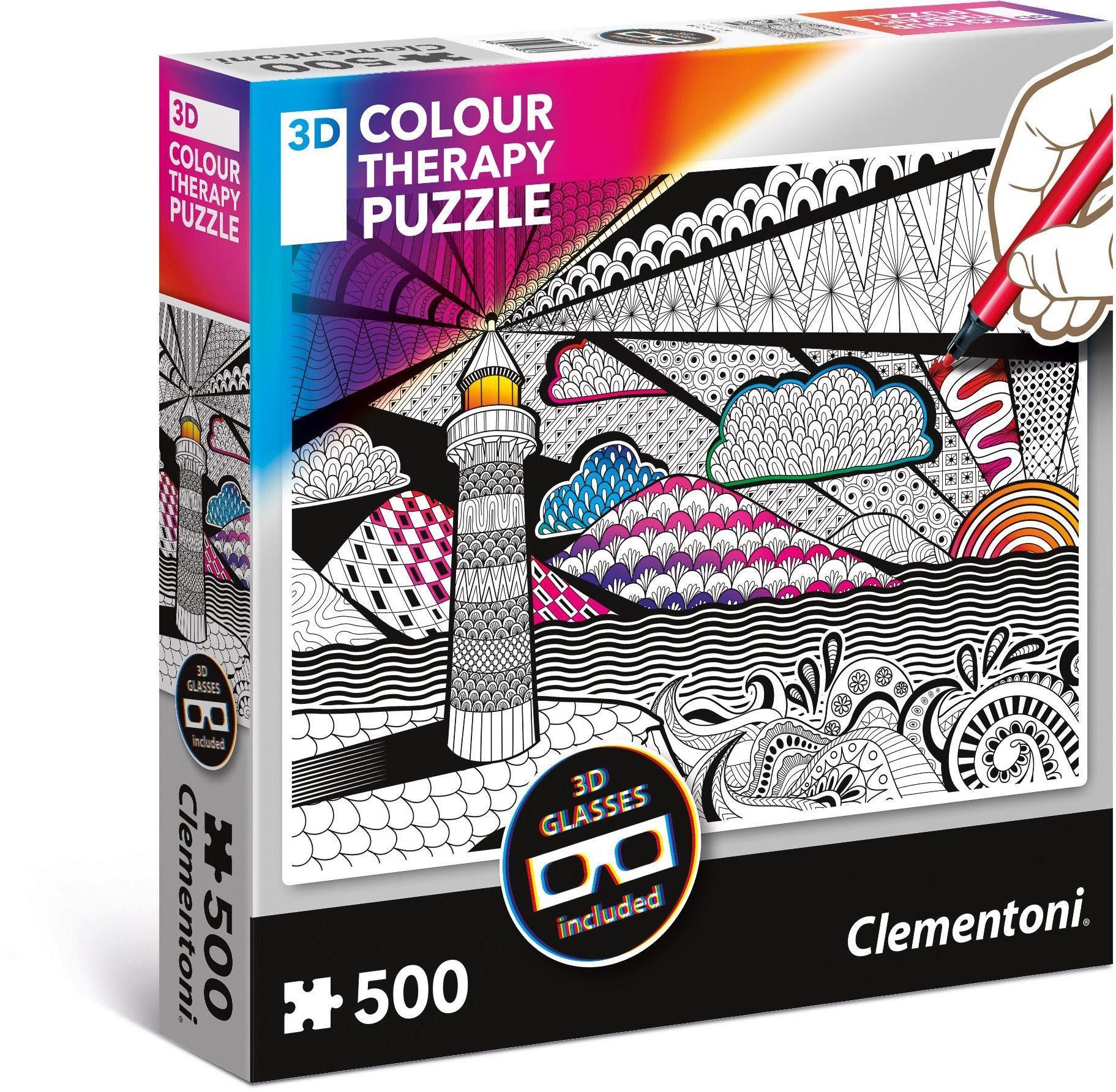 Clementoni Puzzle mit 3D Effekt, 500 Teile, »Colour Therapy: Leuchtturm«