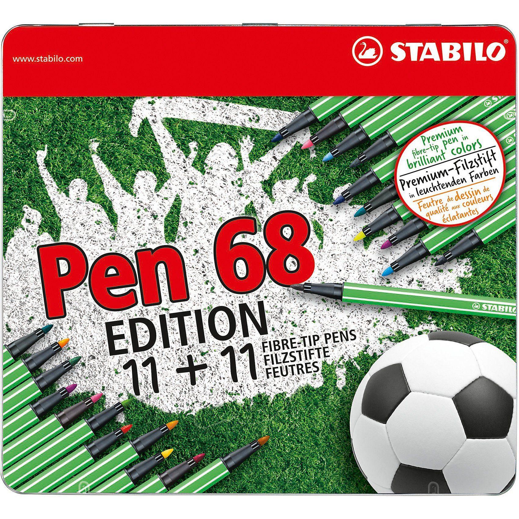 STABILO Filzstifte Pen 68 Fußball Edition, 22 Stifte