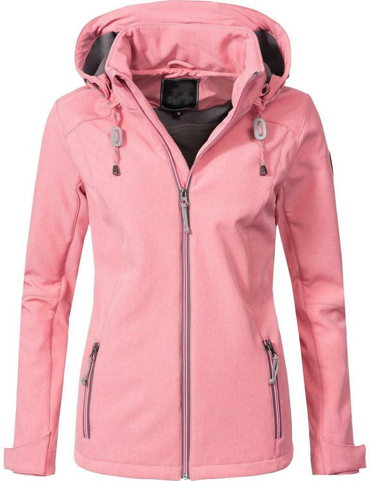 PEAK TIME Softshelljacke »L60022« stylische Übergangsjacke in melierter Optik | Bekleidung > Jacken > Softshelljacken | Rosa | Fleece | PEAK TIME