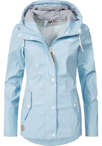 Damen Ragwear Regenjacke YM-Marge stylische Übergangsjacke mit großer Kapuze blau   04251436262777