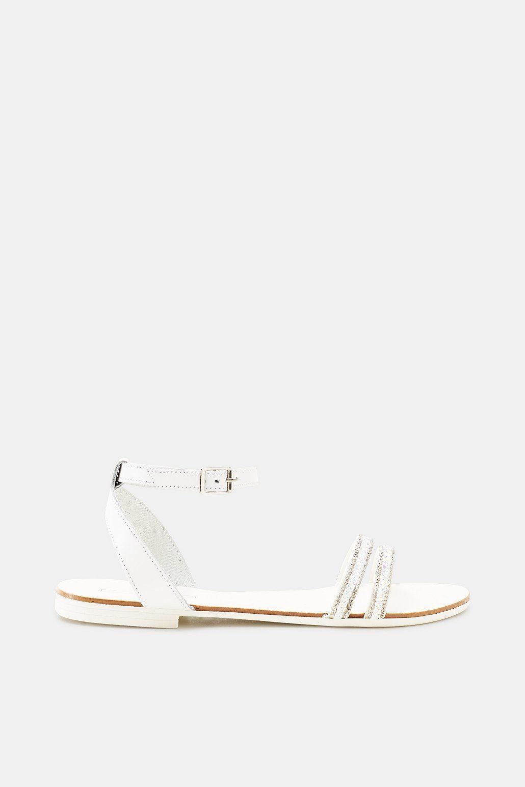 ESPRIT Flache Sandale mit Leder-Riemchen und Glitter online kaufen  WHITE