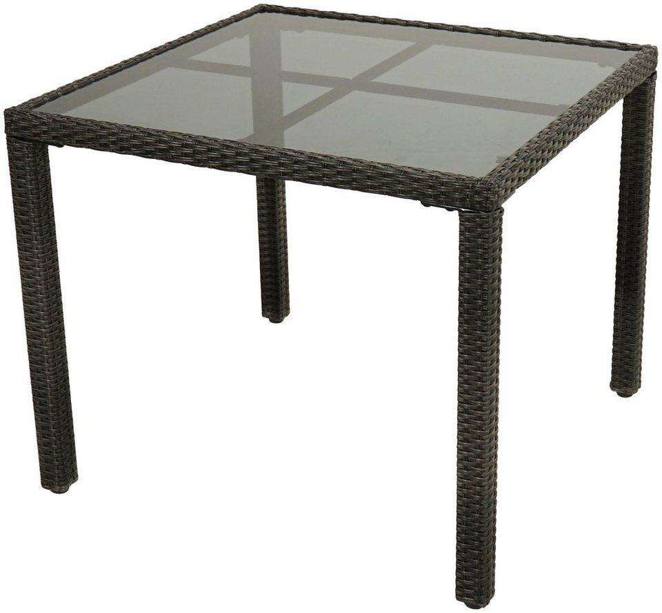 PLOSS Gartentisch »Rocking Basic«, Polyrattan/Glas, 90x75x90 cm ...