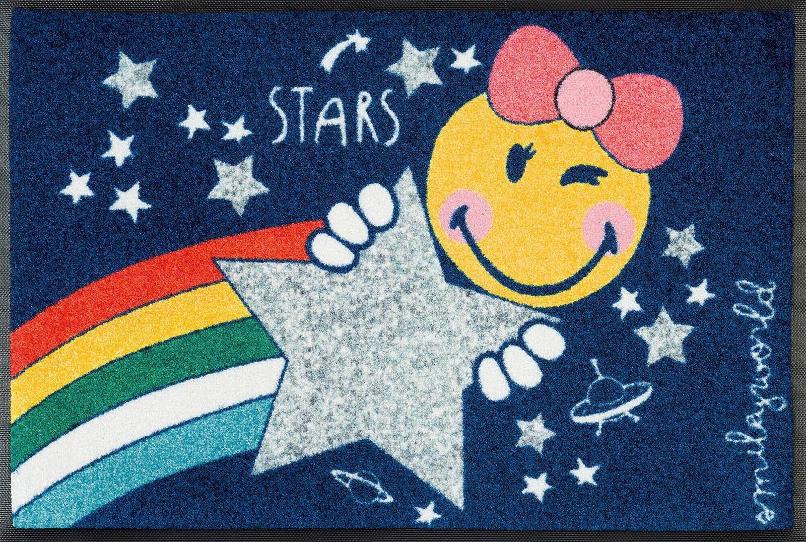 Fußmatte »Smiley Girl«, wash+dry by Kleen-Tex, rechteckig, Höhe 7 mm