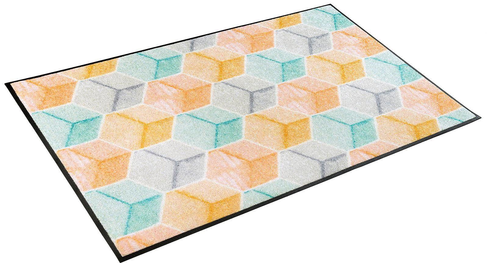 Läufer »Soft Cubes«, wash+dry by Kleen-Tex, rechteckig, Höhe 7 mm
