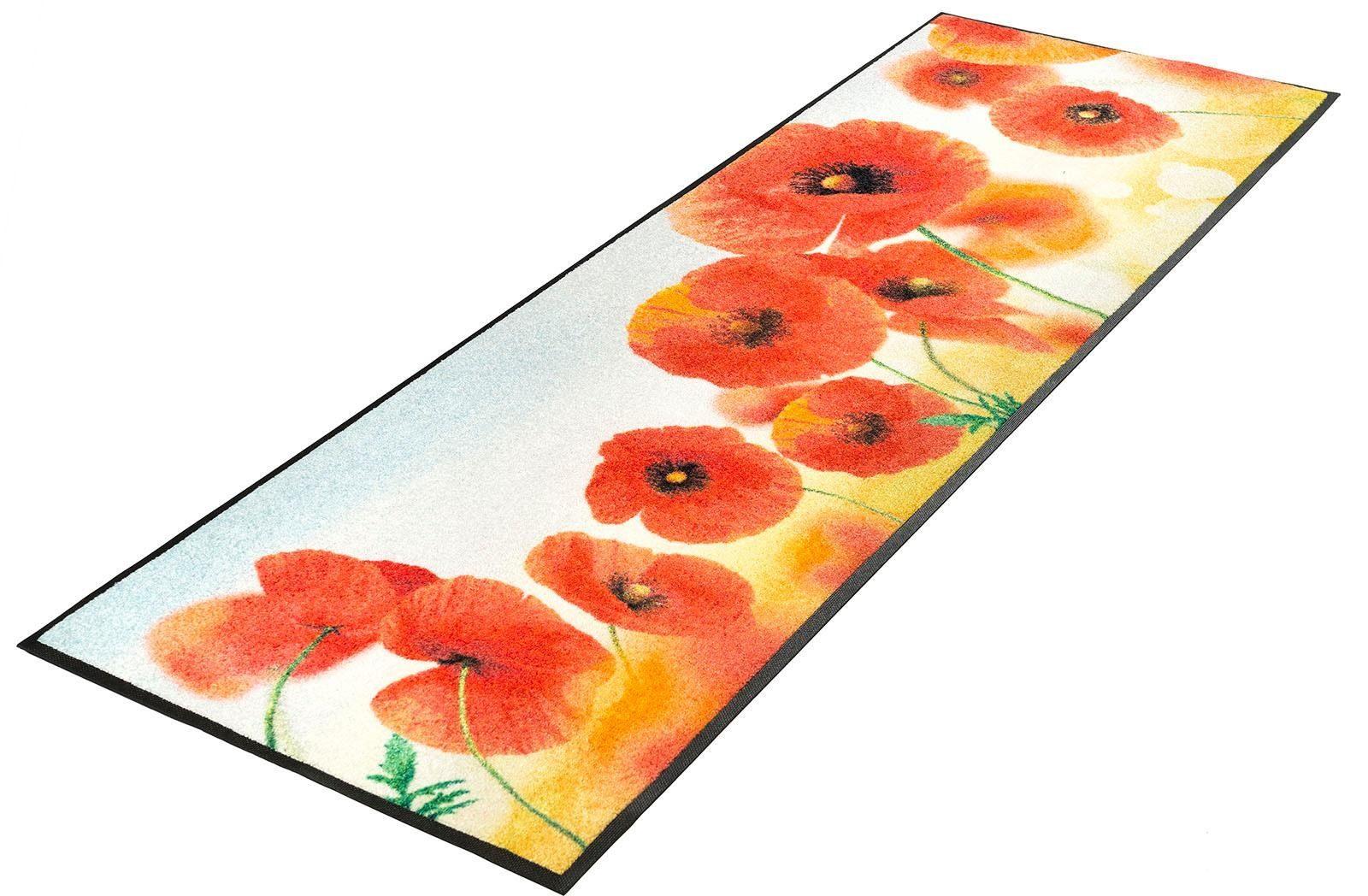 Läufer »Sunny Poppy«, wash+dry by Kleen-Tex, rechteckig, Höhe 7 mm