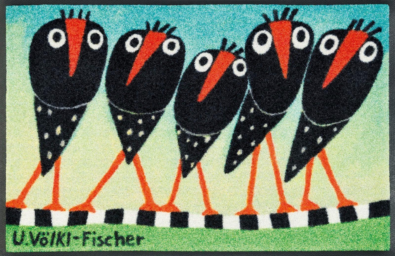 Fußmatte »Schräge Vögel«, wash+dry by Kleen-Tex, rechteckig, Höhe 7 mm