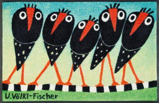 Fußmatte »Schräge Vögel«, wash+dry by Kleen-Tex, rechteckig, Höhe 7 mm, Fussabstreifer, Fussabtreter, Schmutzfangläufer, Schmutzfangmatte, Schmutzfangteppich, Schmutzmatte, Türmatte, Türvorleger