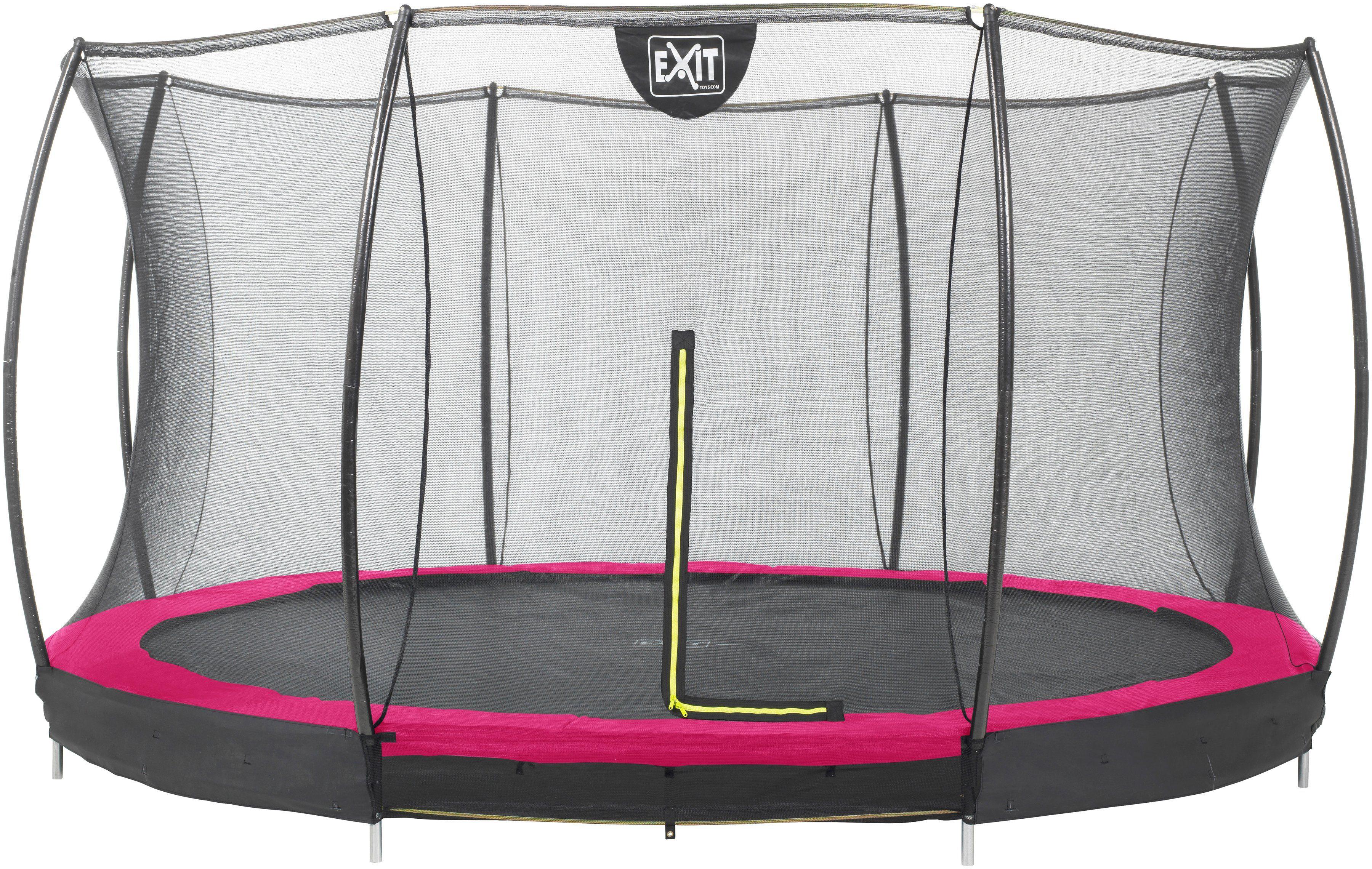 EXIT Trampolin »Silhouette Ground«, Ø 427 cm, mit Sicherheitsnetz rosa