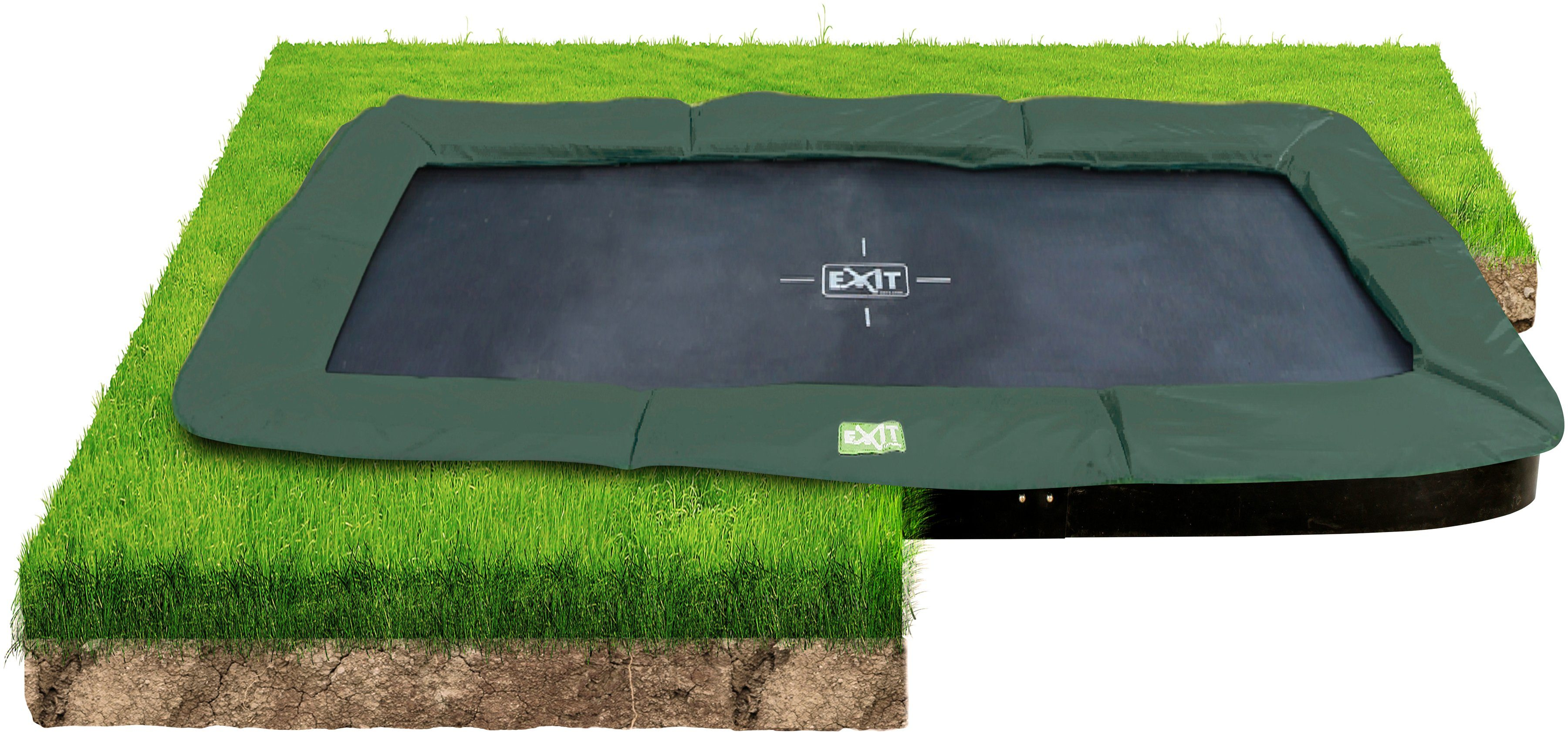 EXIT Trampolin »InTerra Ground Level«, BxT: 244x427 cm, grün