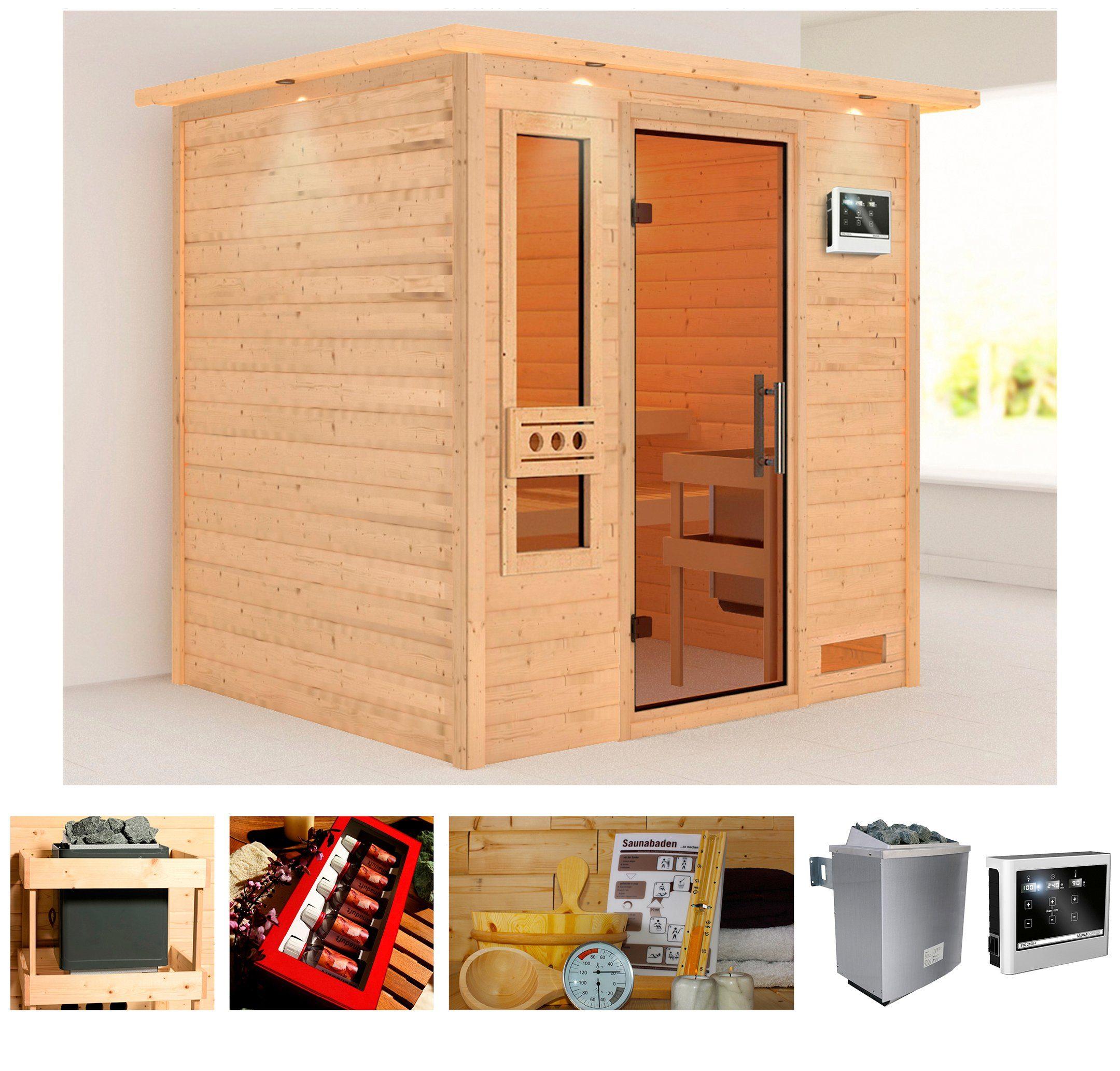 KONIFERA Sauna »Rissani«, Gesamtmaß: 224x184x191 cm, 38 mm, 9-kW-Ofen