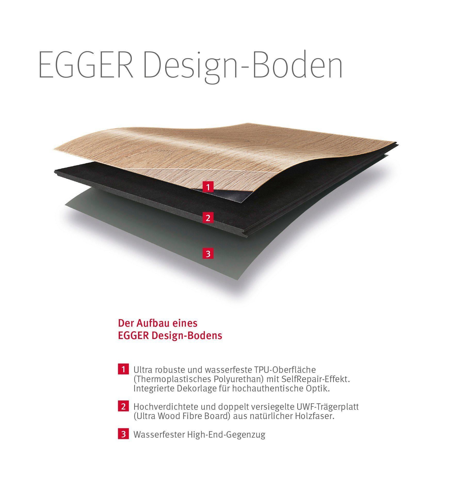 EGGER Designboden »EGGER HOME Design Eiche massiv braun«, 1295 x 192 mm, Stärke: 5 mm
