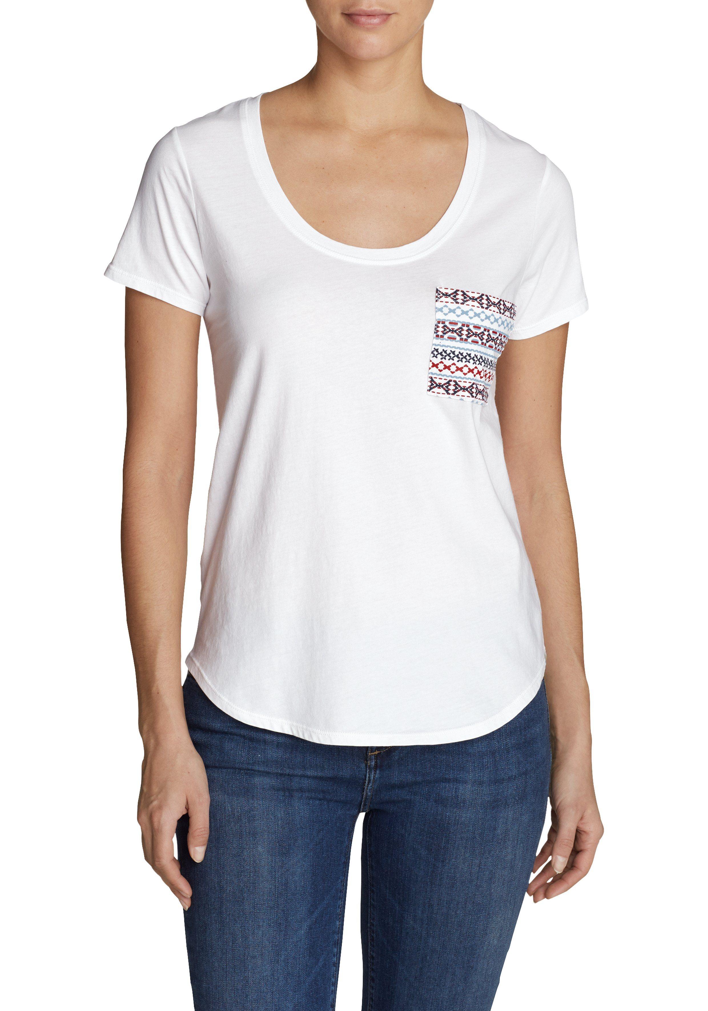 Damen Eddie Bauer T-Shirt Malachite T-Shirt mit bestickter Tasche weiß   04057682275833