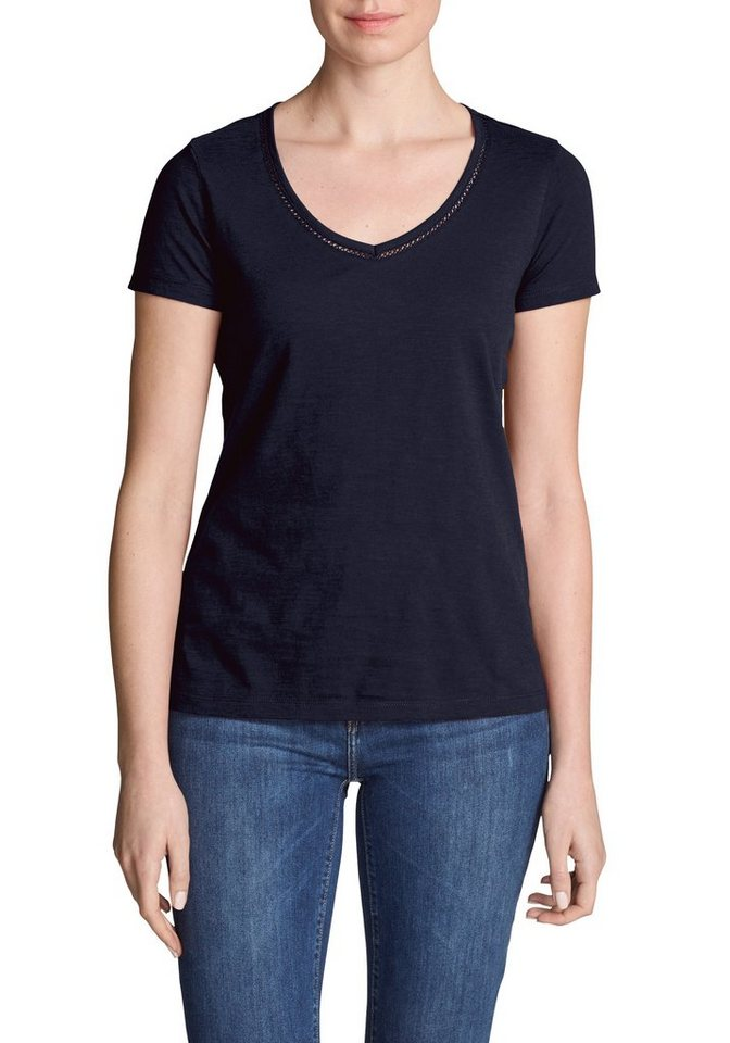 Damen Eddie Bauer  T-Shirt Ladder Stitch T-Shirt blau | 04057682283463