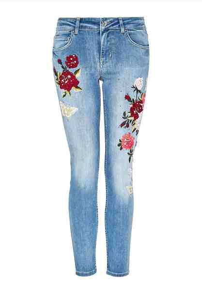 HALLHUBER Verkürzte Skinny-Jeans mit Stickerei & Perlen