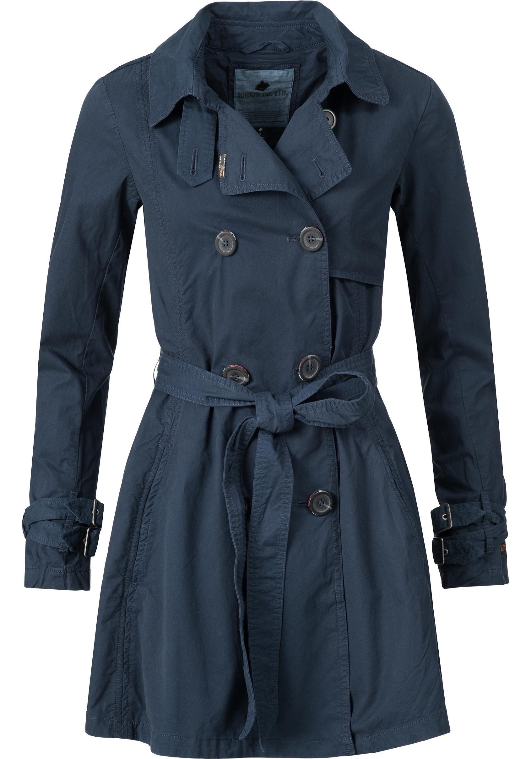 khujo Trenchcoat »YM-Merita«, stylischer Übergangsmantel mit edler zweireihigen Knopfleiste | Bekleidung > Mäntel > Trenchcoats | khujo