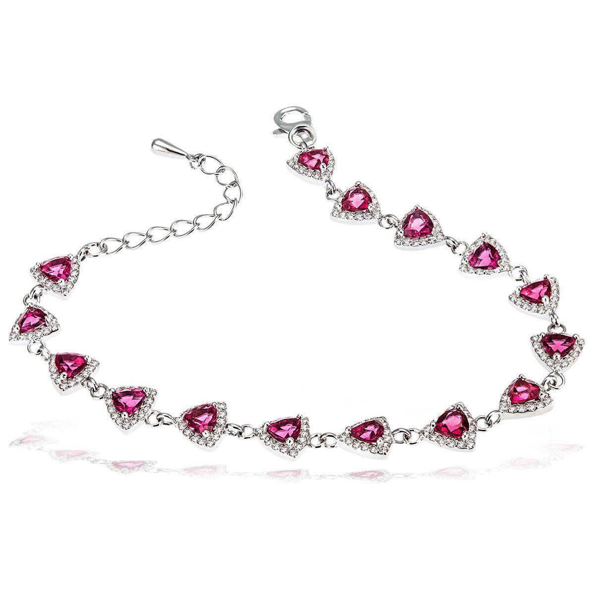 goldmaid Damenarmband 925 Silber mit pinkfarbenen Zirkonia