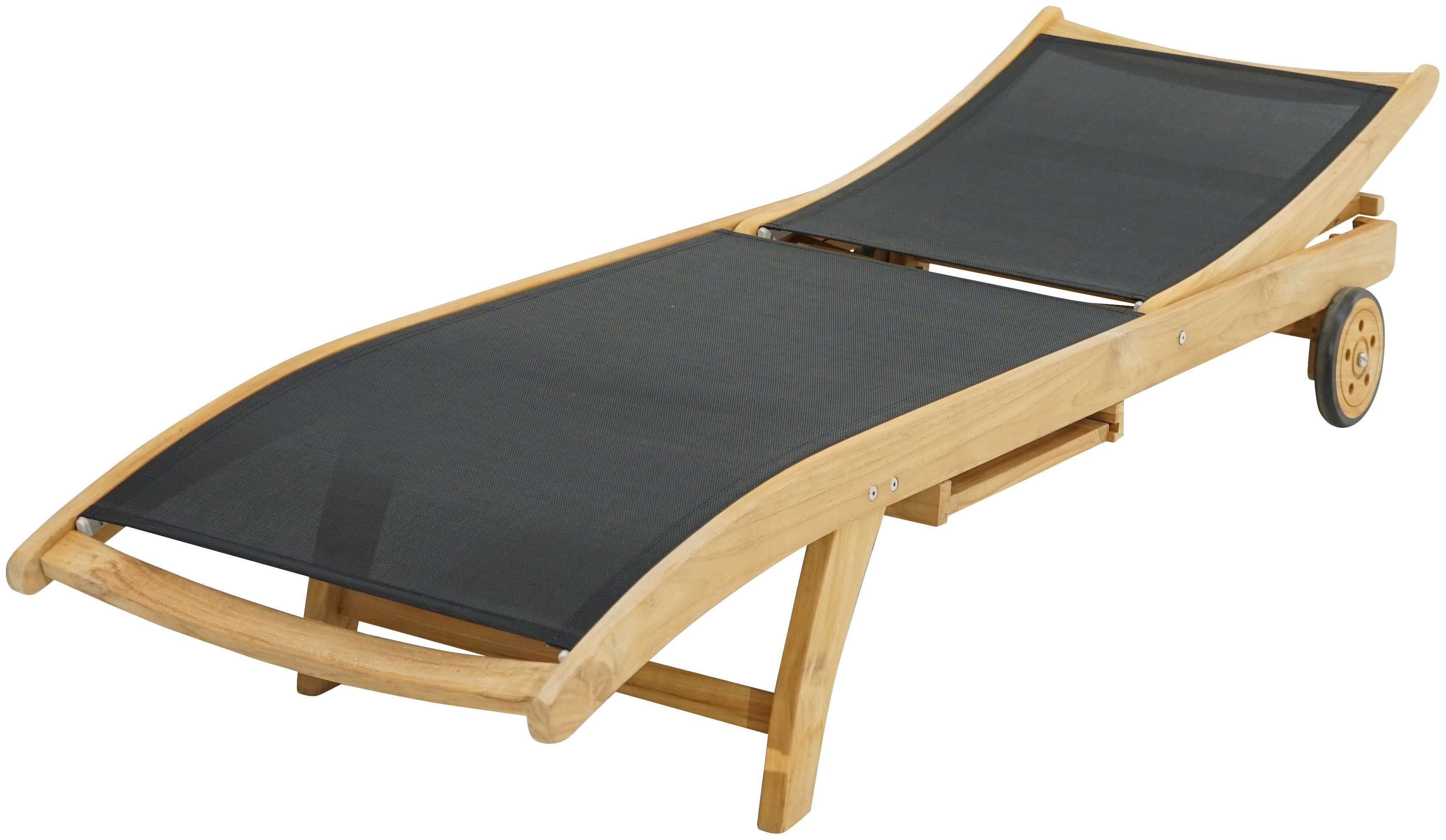 PLOSS Rollliege »Fairchild«, Teak/Textil, schwarz