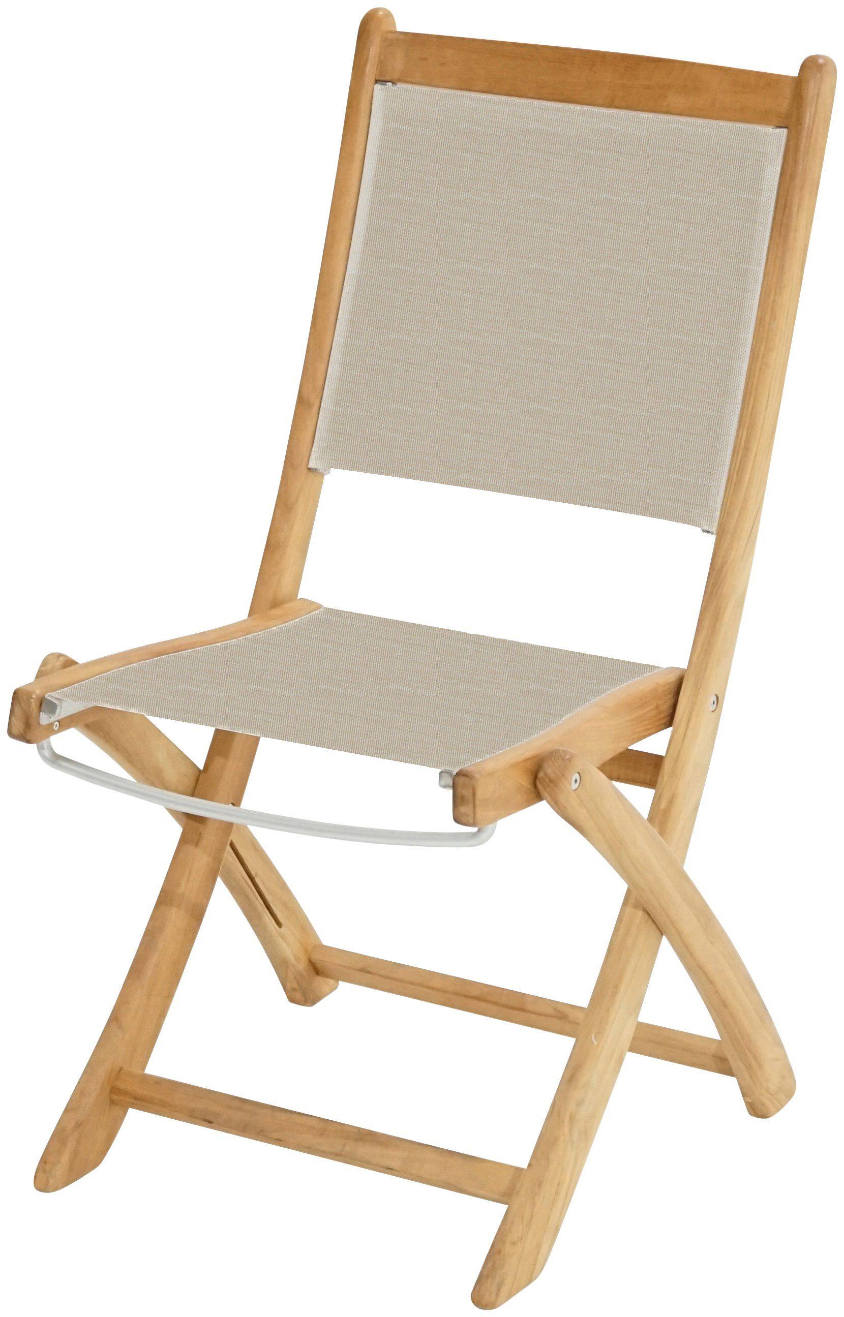 PLOSS Gartenstuhl »Richmond«, Teak/Textil, klappbar, weiß
