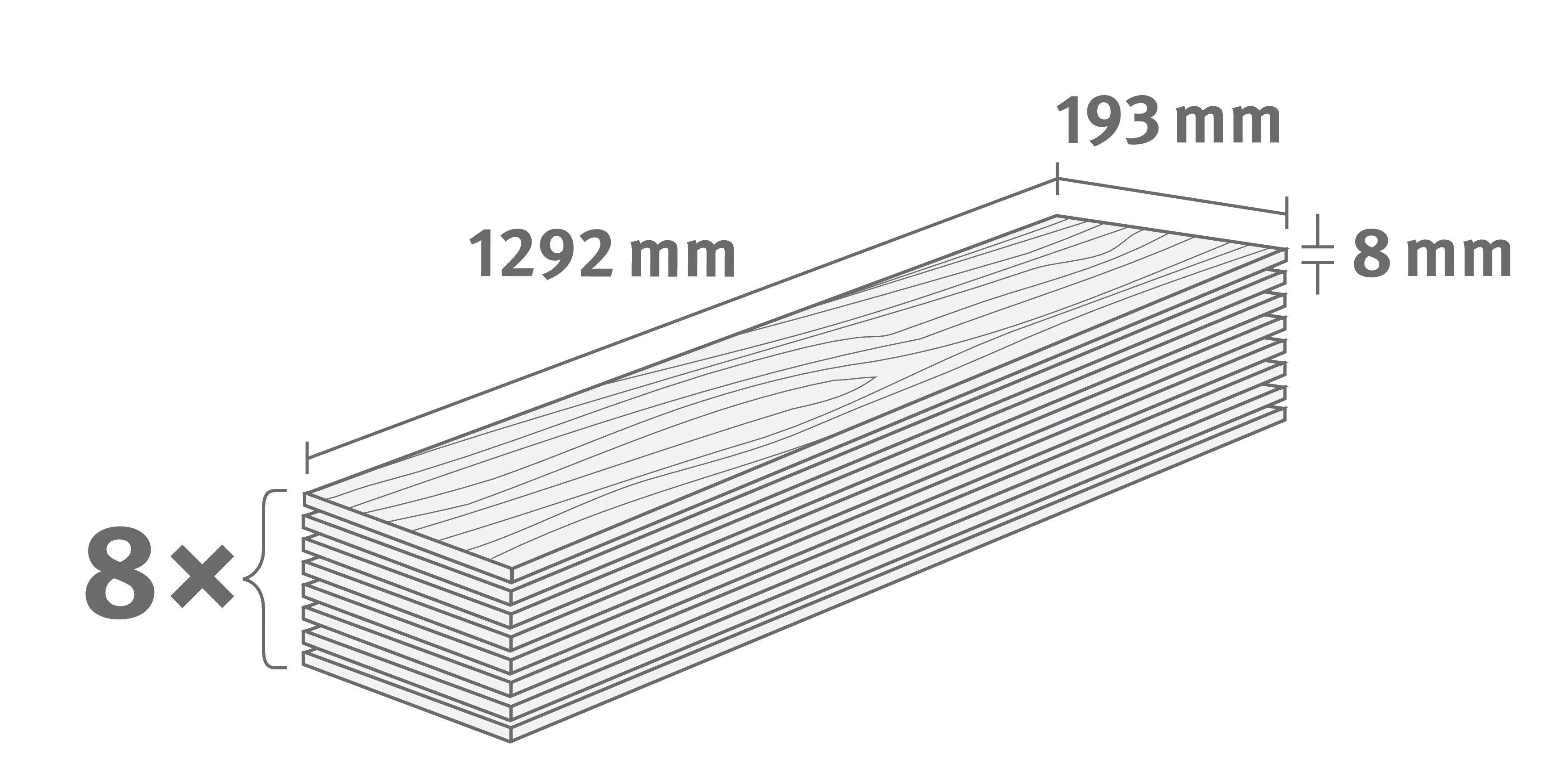 EGGER Korklaminat »EGGER HOME Comfort Summersville Eiche weiss«, 1292 x 193 mm, Stärke: 8 mm