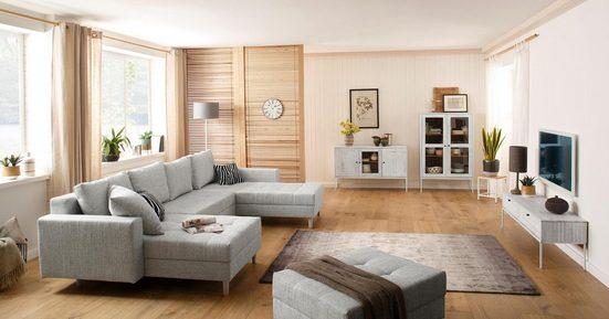 Home affaire Lowboard »Freya«, mit 2 Klappen, Metallgriffen, aus Massivholz, Breite 140 cm
