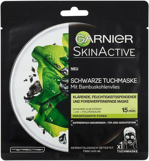 GARNIER Tuchmaske »Skin Active Schwarze Alge Extrakt«, feuchtigkeitsspendend, porenverfeinernd