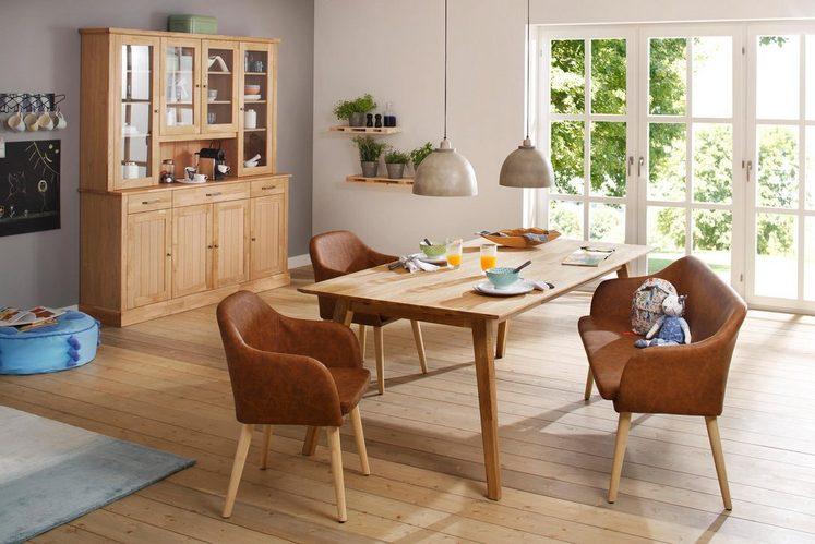 Home affaire Sitzbank »Palma«, Gestell aus Massivholz und Sitz aus Kunstleder, Breite 145 cm
