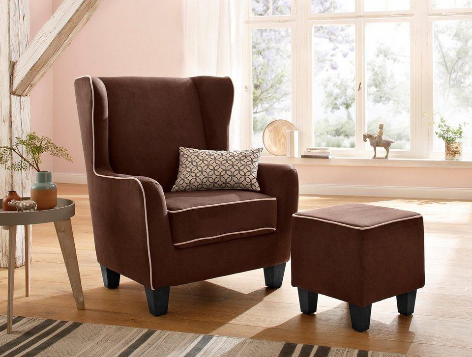 home affaire sessel ginger mit hocker im set keder. Black Bedroom Furniture Sets. Home Design Ideas