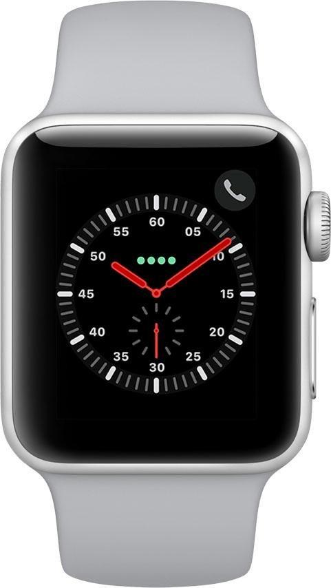 Series 3 GPS + Cellular, Aluminiumgehäuse, 38mm mit Sportarmband Smartwatch (3,8 cm, watchOS 4)