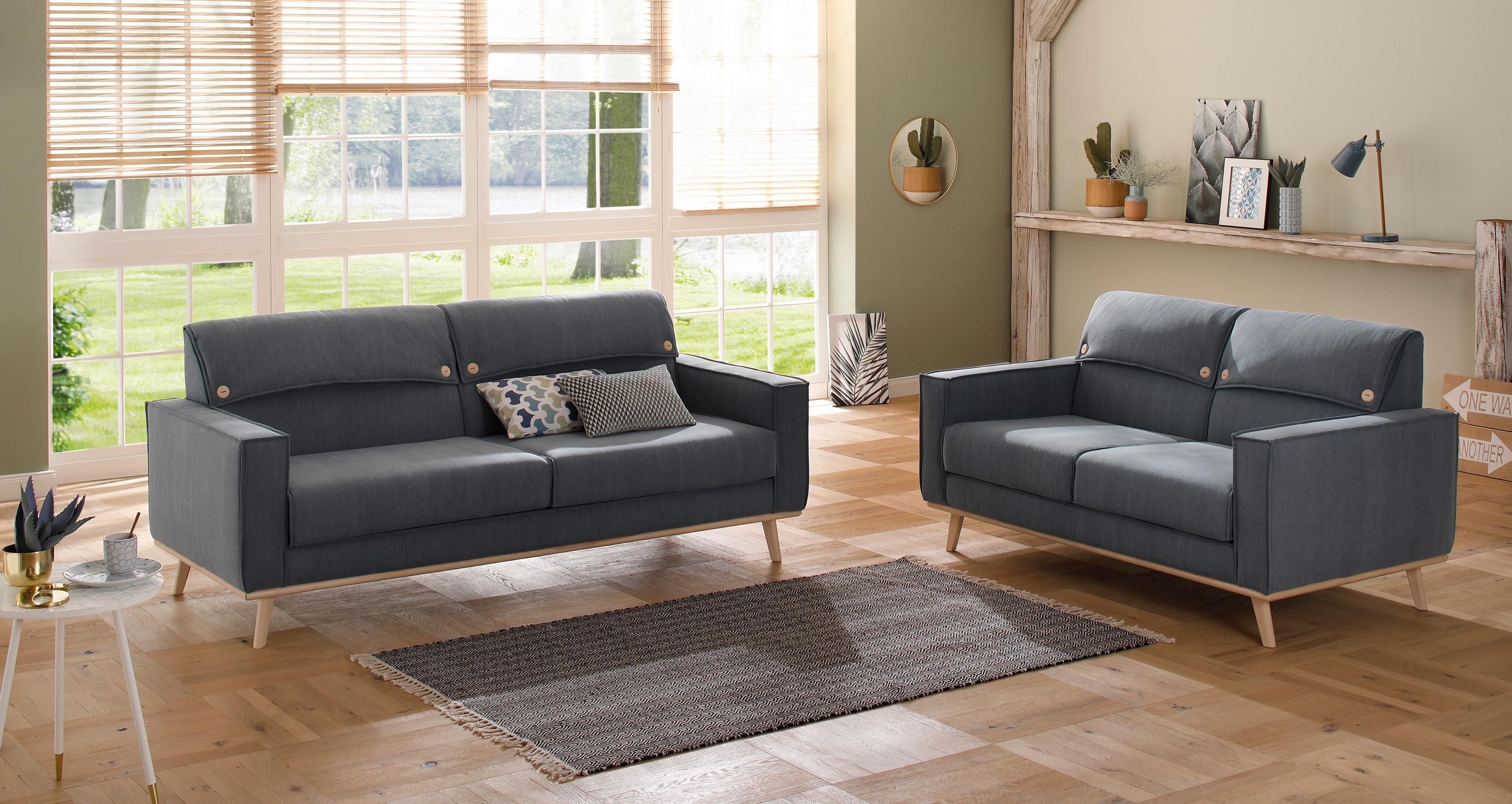 Home affaire 3-Sitzer und 2-Sitzer »Fjord« als Set, Kopfpolster mit Knöpfen, Keder | Wohnzimmer > Sofas & Couches > Garnituren | Home affaire
