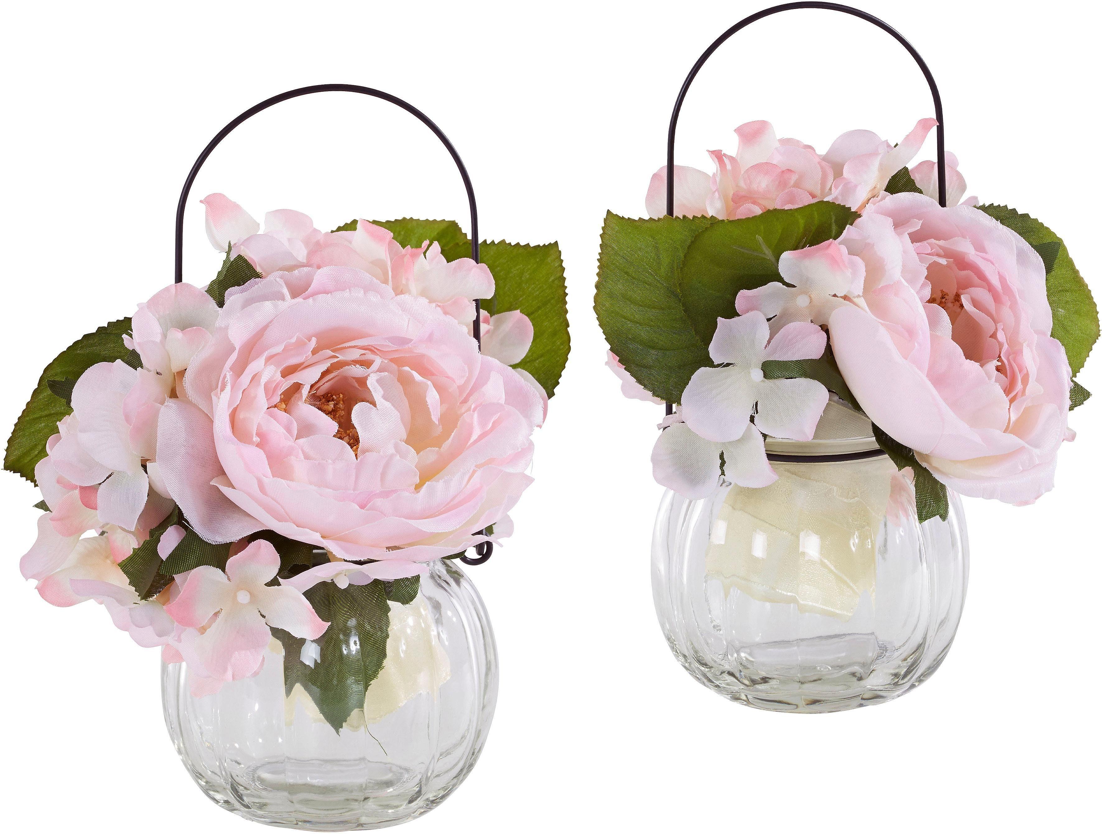 Home affaire Kunstblume »Rosen im Glas« (2er Set)