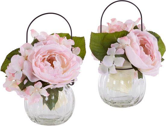 Kunstpflanze »Rosen im Glas« (Set, 2 Stück)