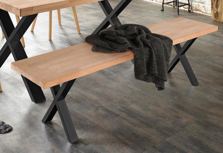 Sitzbank »Faaborg«, Breite 180 cm mit X-Gestell in Schwarz