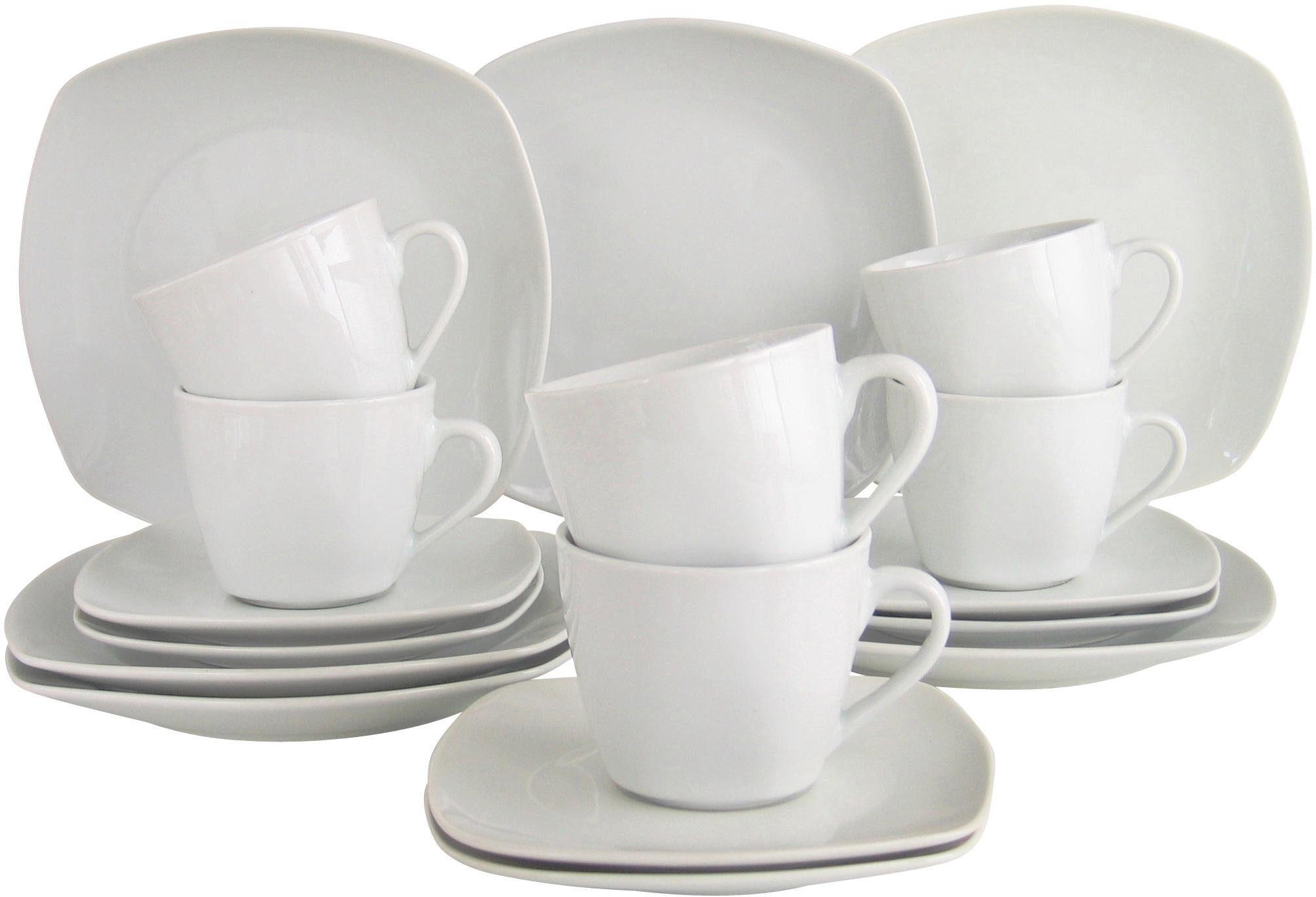 CreaTable Kaffeeservice, Porzellan, 18 Teile, »Blanco«