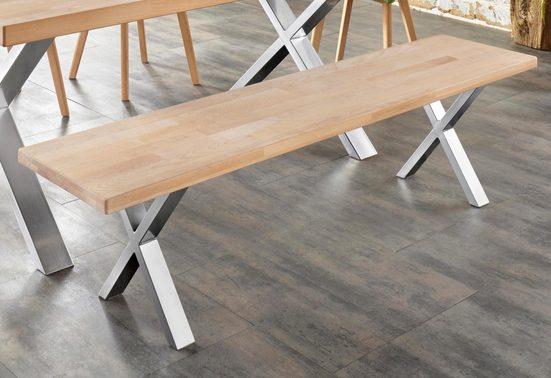 Sitzbank »Faaborg«, Breite 180 cm mit X-Gestell in Chrom matt
