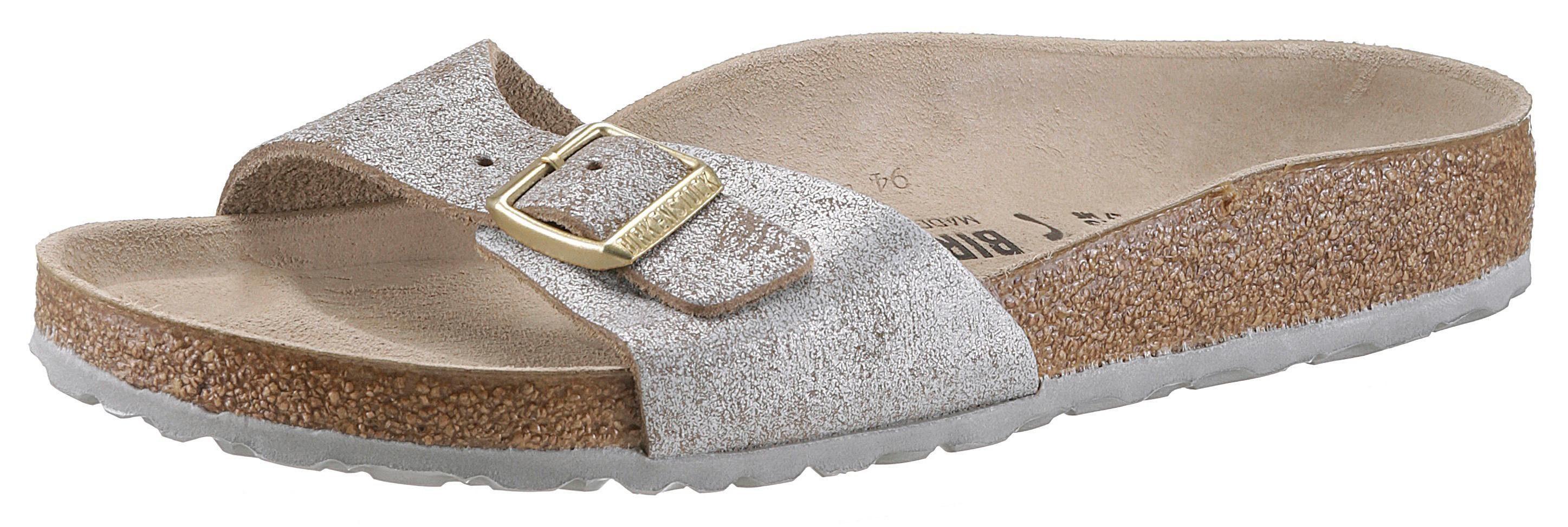 Birkenstock Pantolette, in schmaler Schuhweite und Metallic-Look online kaufen  taupe-grau