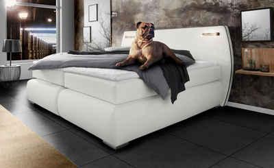 INOSIGN Boxspringbett »Black & White«, incl. LED Beleuchtung, bis zu 3 Härtegrade, Obermatratze bei 140 cm einteilig
