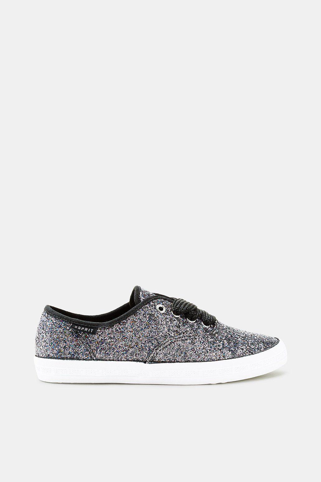 Esprit ESPRIT Textil-Sneaker mit markanten Schnürbändern, weiß, WHITE