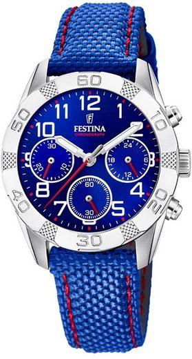 Festina Quarzuhr »UF20346/2 Festina Kinder Uhr F20346/2 Leder/PUband«, (Analoguhr), Kinder Armbanduhr rund, Leder/PURarmband blau