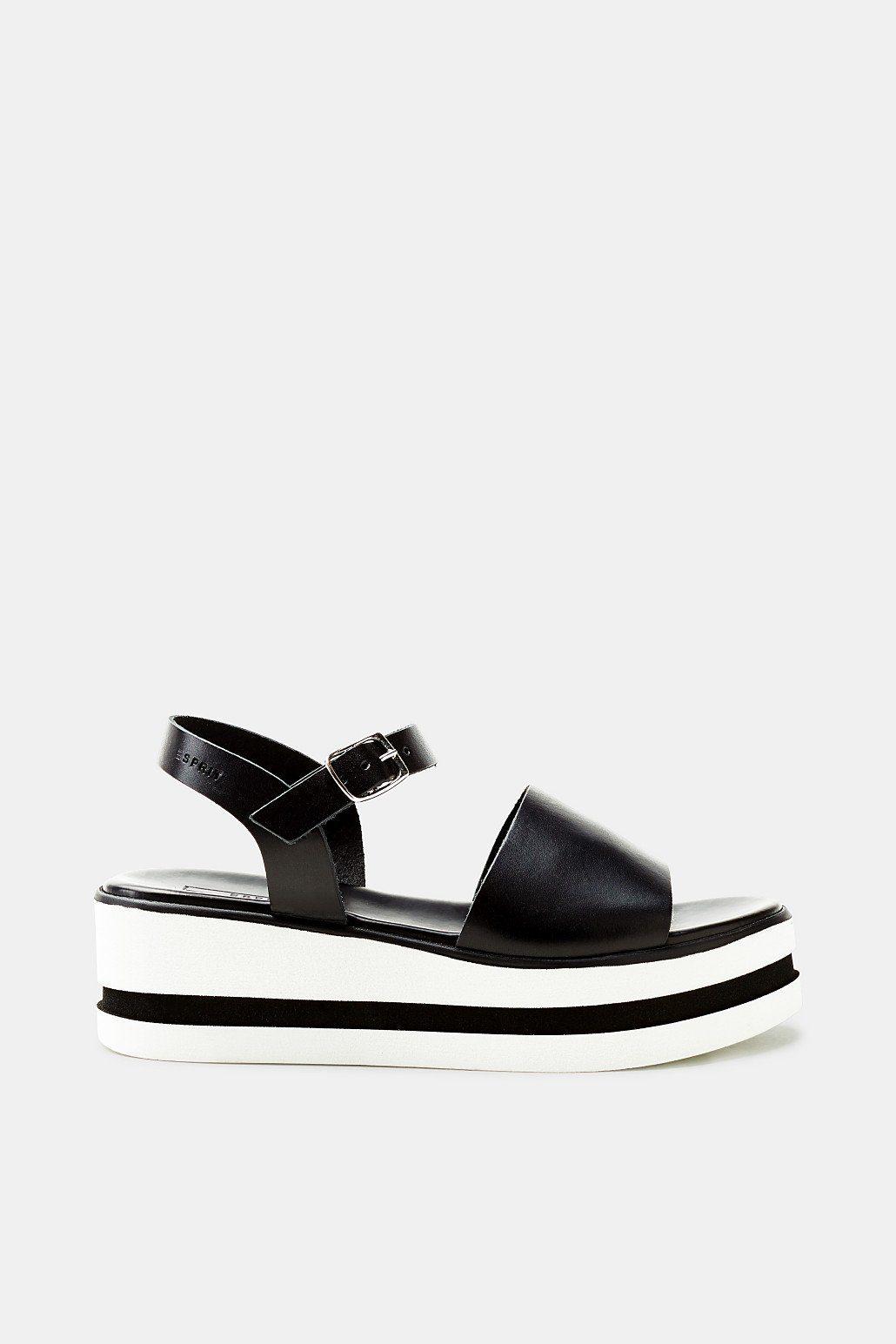 Esprit Plateau-Sandale mit Leder-Riemen für Damen, Größe 41, Black